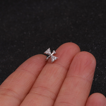 Feelgood New Tiny Cartilage Hoop With Cubic Zirconia Flower Cross Heart Bow Small Tragus Hoop Earring 5