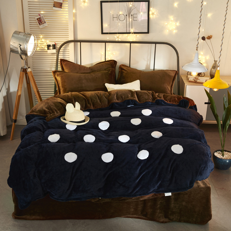 2018 home bedding Fleece bedding set applique duvet cover dots cloud flannel flat sheet 4pcs bed linen home bedclothes caroset2018 home bedding Fleece bedding set applique duvet cover dots cloud flannel flat sheet 4pcs bed linen home bedclothes caroset