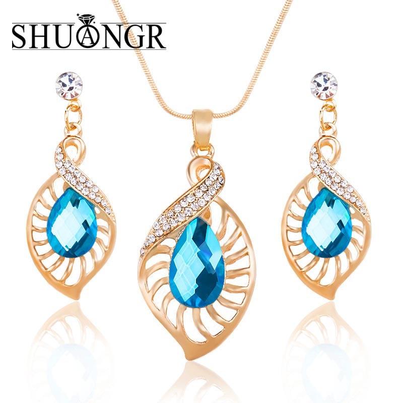 624588041937 Shuangr de lujo cristal azul Juegos de joyería para las mujeres oro-color  pendiente colgante Collar libre th2889