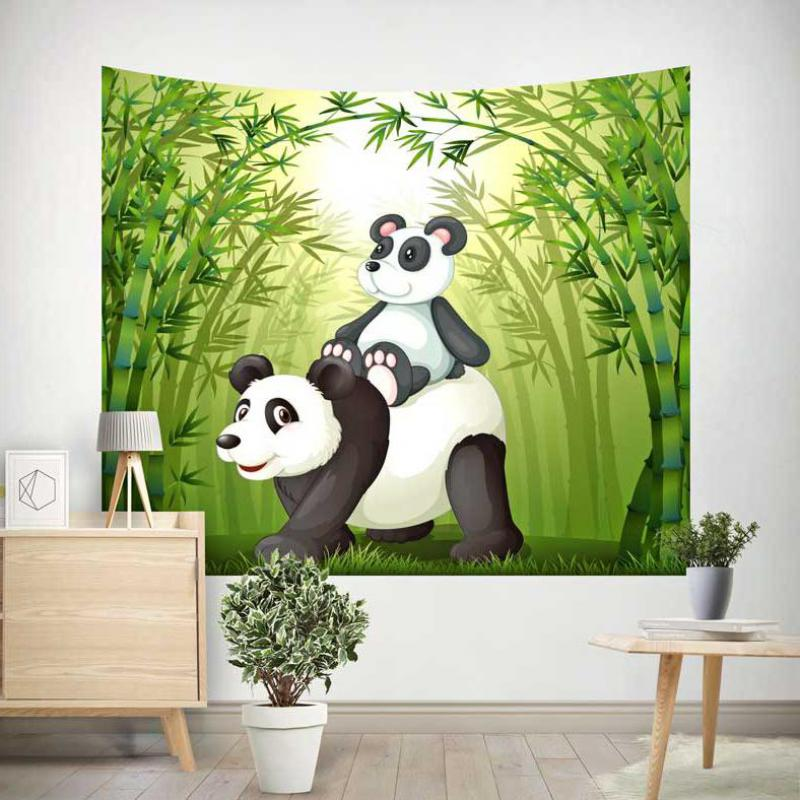 Cute Animal Panda Bamboo Tapestry Family Fabric Beach Towel Children Room Decoration Wall Hanging Bed Sofa Throw Blanket