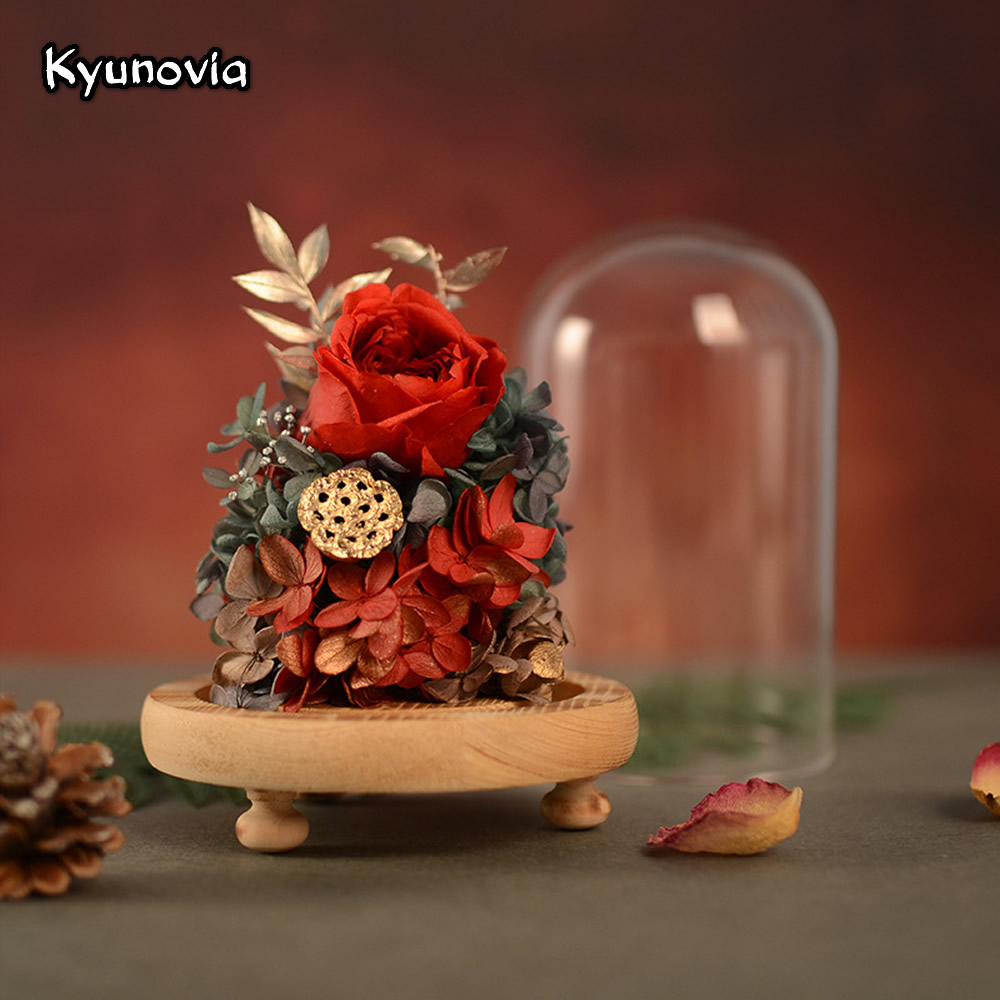 Kyunovia Home Decoration Valentine's Day Birthday Gift Fresh Preserved Rose Flower In Glass Classmate Quinceanera Gifts KY119