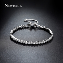 NEWBARK Luxury Round Shaped Cubic Zirconia Friendship Slim Bracelets White Gold Plated With A Extend Link