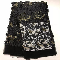 Black Beaded Appliqued Lace Fabric High Quality Latest African Lace 2017 Noble 3D Lace Fabric For