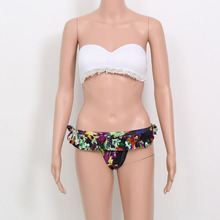 2016 New Hot Strapless Swimwear Crochet Padded Tanga Panties Halter Swimsuit Sexy White Bra Bikini Brazilian Maillot De Bain