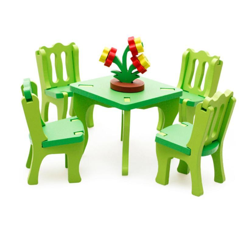 Детские развивающие игрушки деревянные Конструкторы 3D Puzzle Главная стол стул горшок челнока y803