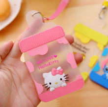 Kawaii 2Colors MILK Bottle Shape - 12*7CM Silicone BUS & ID Card Holder Case Pouch BAG Holder Case Cover(China)