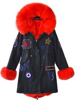 2016 Fashion Design Womens Wind Coats Luxury Fox Fur Cuff Britain Flag Beading 3Color