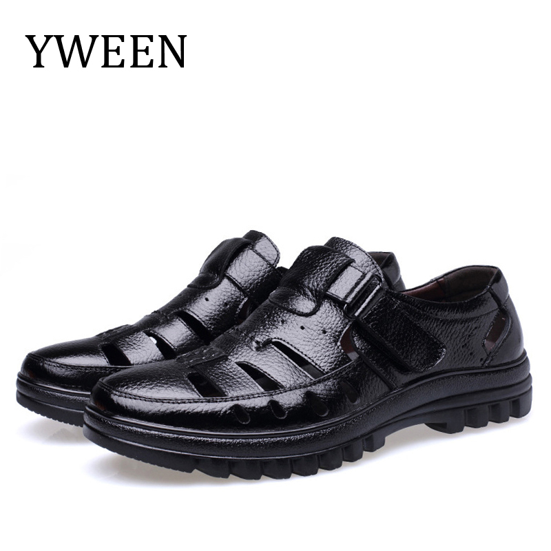 YWEEN Top Quality Mens Sandals Waterproof Men Leather Shoes Men Outdoor Beach Shoes