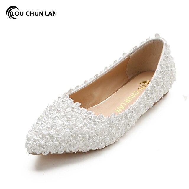 Louchunlan Frauen Flache Weisse Blume Hochzeit Schuhe Flach Mund
