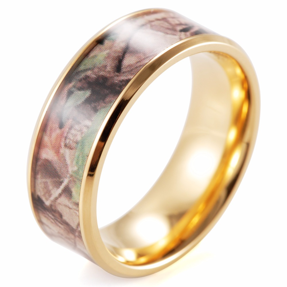shardon titanium beveled his hers mossy oak camo gold color plated titanium wedding bands rings - Mossy Oak Wedding Rings