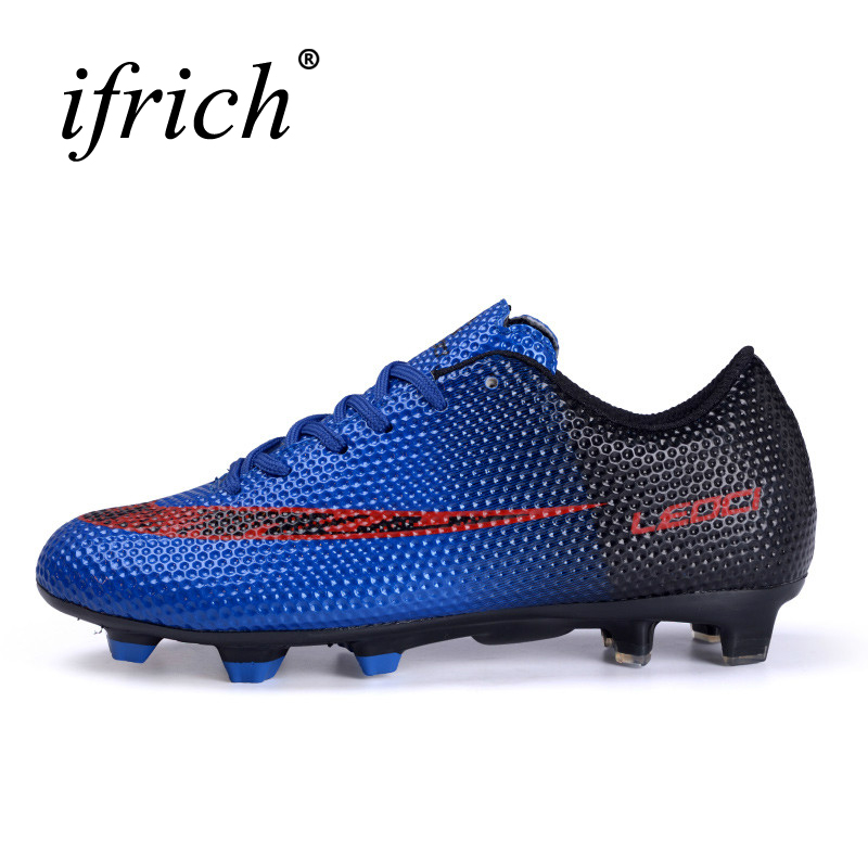 Men Kids Football Shoes 2016 Original Soccer Cleats Boys Professional Football Sneakers Blue/Red Sport Football Training Boots