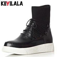 Kiiyilala Slip-on Cross-tied Women Sock Boots New Flat Ankle For Autumn Winter Shoes Round Toe Woman Western