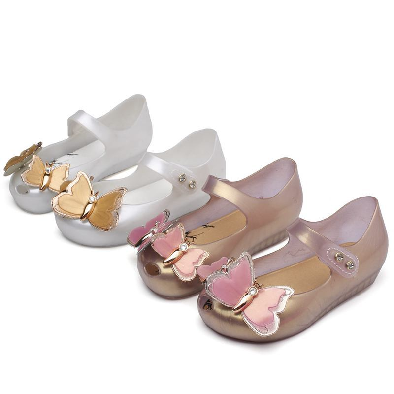 Mini Melissa Shoes 2019 New Original Girl Jelly Sandals Butterfly Kids Children Beach Shoes Non-slip Toddler Candy Shoes SH19075