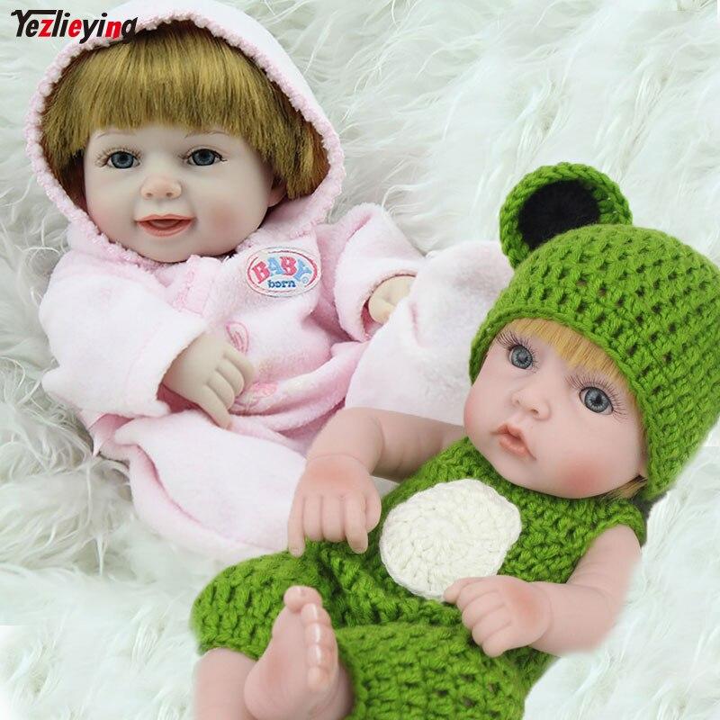 2 pièces/boîte NPKDOLL 10 pouces entièrement corps Silicone Reborns Mini nouveau-né bébé mode poupées vert barboteuses garçon + Blonde sourire fille ensemble