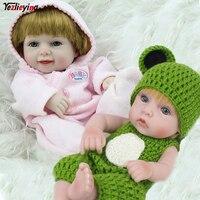 2PCS/Box NPKDOLL 10 Inch Fully Body Silicone Reborns Mini Newborn Baby Fashion Dolls Green Rompers Boy+Blonde Smile Girl Set