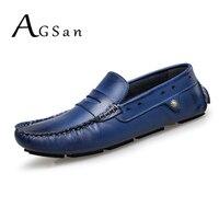 AGSan da chính hãng đôi giày lười penny người đàn ông thuyền màu xanh giày thiết kế lái xe giày cộng với kích thước giày đế mens 11 10.5 47 46 da đanh