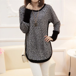 New Fashion Autumn  Brand Female Mohair Pullover Loose Sweater Knitted Long Sleeve O-neck Gray Pullovers Hot Sale Sweater 2