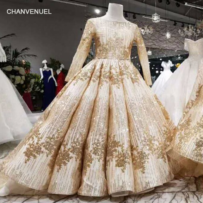 LSS008 golden   flower     girl     dresses   o-neck long sleeve court train pageant   dresses   for little   girls   curve shape muslim   dresses