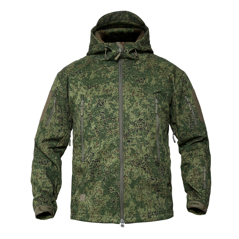 S-5XL Men's Military Camouflage Fleece Tactical Jacket Men Softshell Waterproof Windbreaker Winter Army Hooded Coat Plus Size