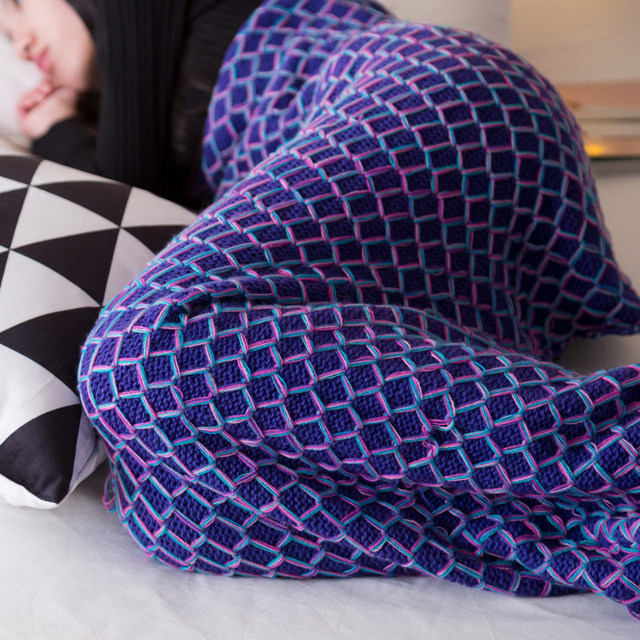HAKOONA Colorful Fish Scales Shape Mermaid Tail Crocheted Thread Blankets Kitted Throws Suit For Babies Children Adults 3 Sizes  1