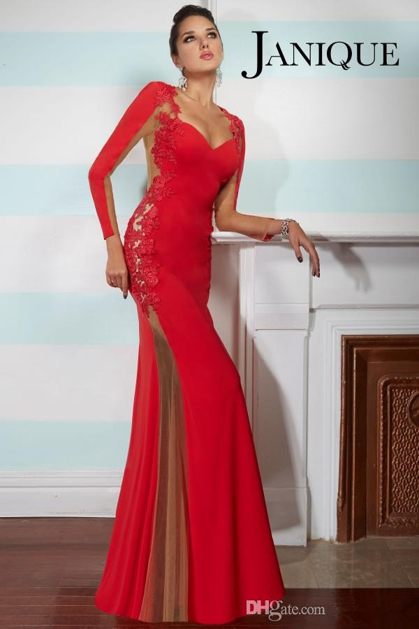 Mermaid Sexy Black Red Prom Dresses With Sweetheart Long Sleeve Lace