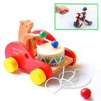 Toddler Car Wooden Toys Bear Play Drum Game Clown Riding Bike Toys Educational Noise Make Car