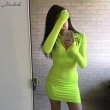 Long Sleeve Half Open Zip Collar Dress
