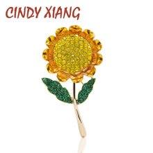 CINDY XIANG yaz tarzı ayçiçeği broş kadınlar için moda sarı Rhinestone broş Pin yüksek kalite sevimli anne hediye yeni