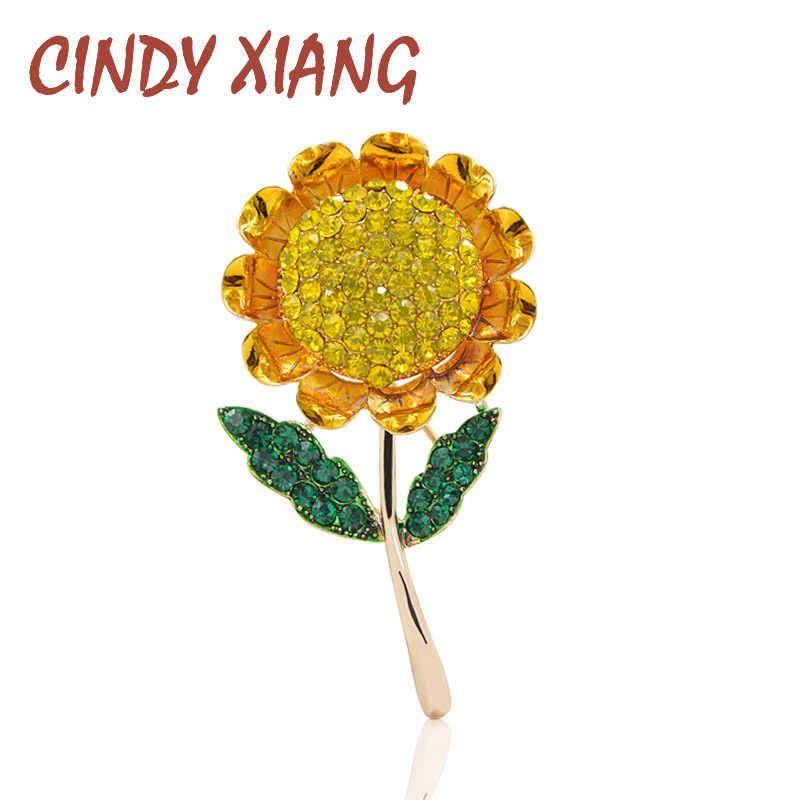 Cindy Xiang Gaya Musim Panas Bunga Matahari Bros untuk Wanita Fashion Kuning Rhinestone Bros Pin Kualitas Tinggi Lucu Ibu Hadiah Baru