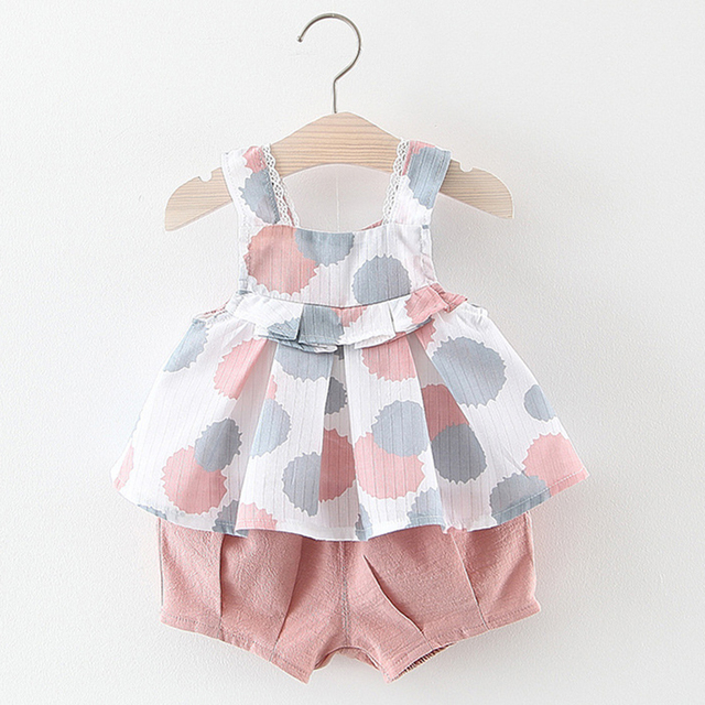 Baby Girl Clothes 2019 New Kids Clothes Cotton Sleeveless Dotted Sling Top + Shorts Sets Girls Clothes Children Clothes