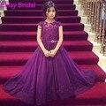2016 фиолетовый девушок цветка платье для детей выпускного вечера аппликация фуксия с бантом лонг дети вечерние платья халат де бал Fille