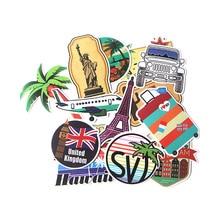 15 Pcs/set DMLSKY Travel Eiffel Tower album sticker decals National flag pvc Scrapbooking for phone luggage DIY Acessories M3537