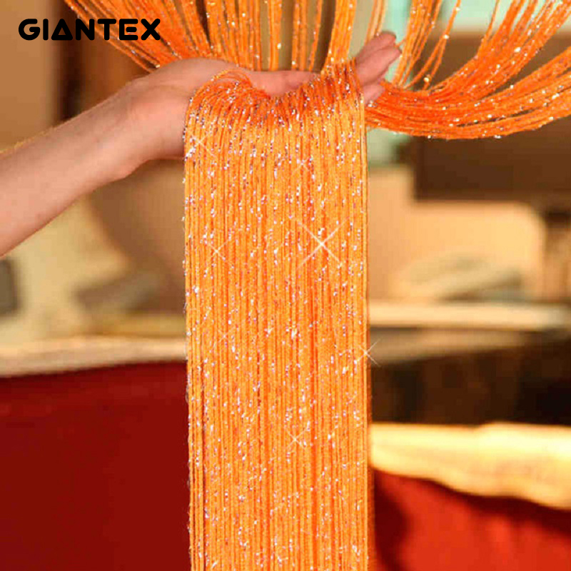 GIANTEX borla brillante plata Flash línea cortina ventana puerta Sheer cortina cenefa decoración 0,95x1,95 m u0604