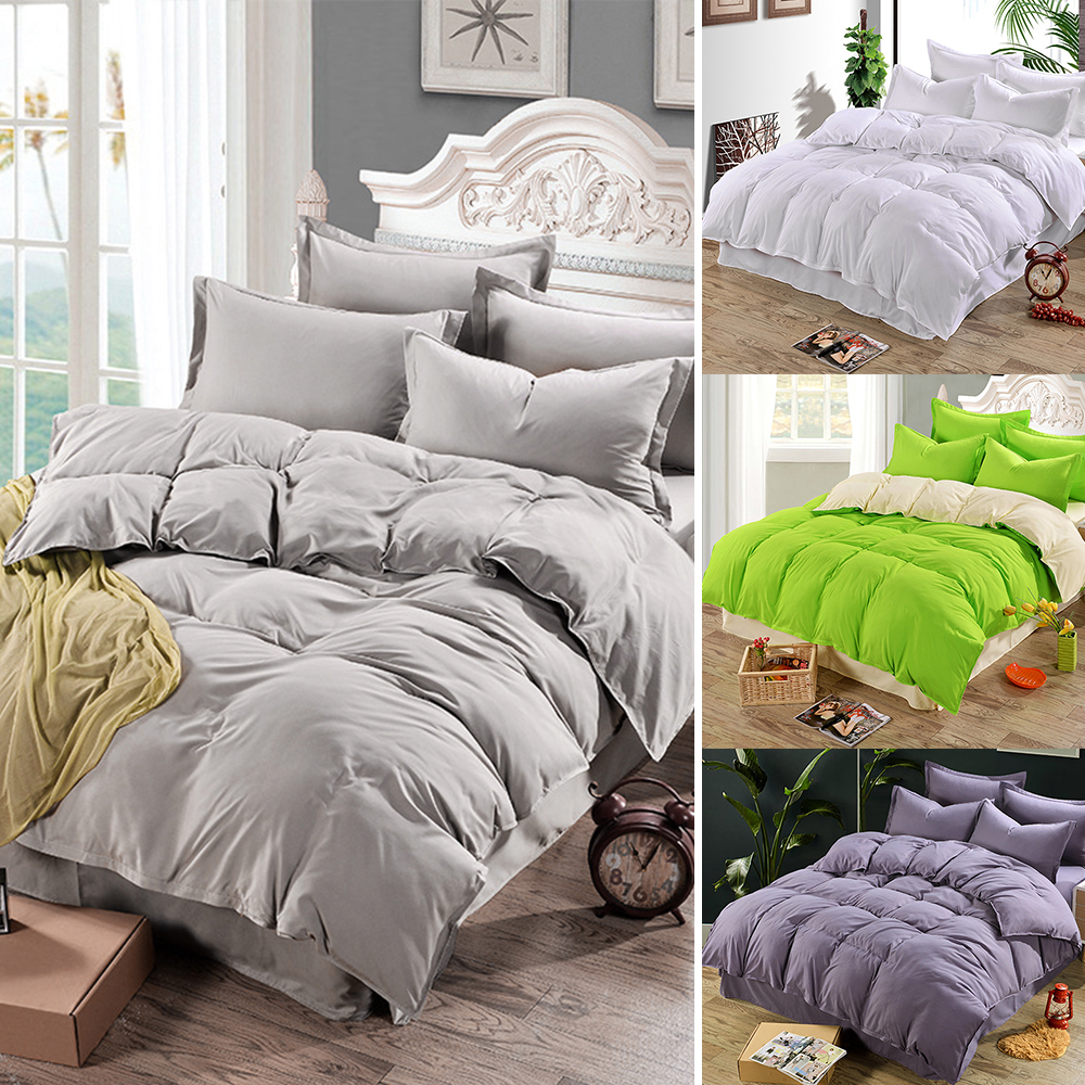 Plain Duvet Quilt Cover Bed Cover For Comforter Bedding Sets Single/Double/King Size Family Adults Children cotton satin Quilted