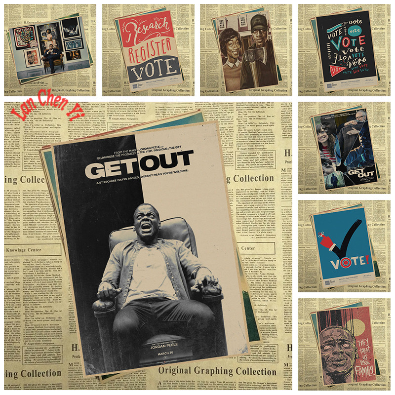 Horror Thriller Movie Get Out Kraft Paper Poster Cafe Creative wallpaper Interior Decoration image