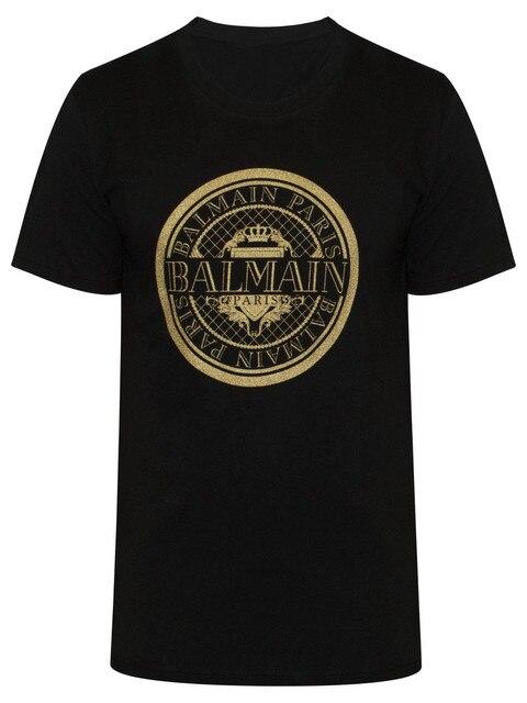 Balmain Black Logo T-Shirt New Fashion Men Women Size S-3XL