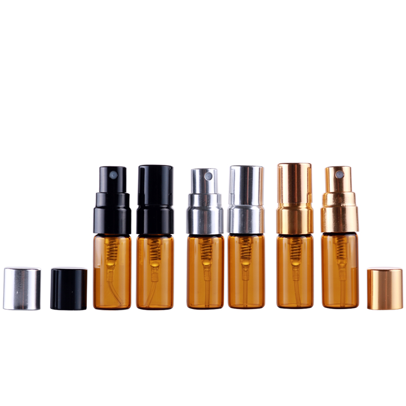 100Pieces Lot 3ML Portable Brown Glass Perfume Bottles Atomizer Portable Contenitori cosmetic vial for Essential Oil