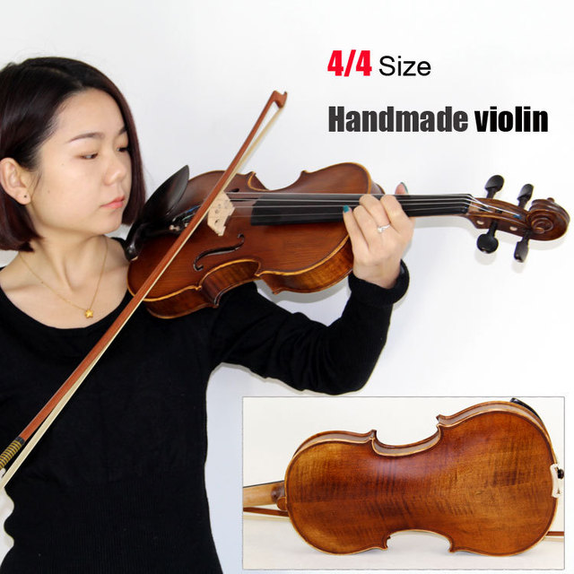 Cheap 4/4 Size Violin/handmade violin, with free violin bow &violin  case , Handmade oil varnish & Bright Tone