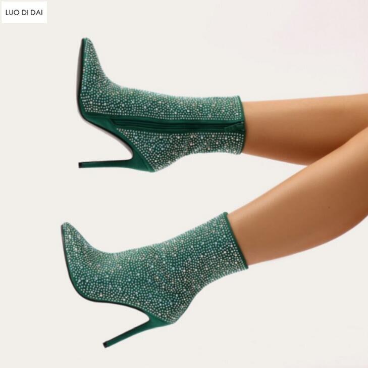 2019 Tobillo Tacón De Moda Zapatos Stud verde Imitación Diamante Punta Fino Botas Diamantes rojo Damas Mujer Fiesta Brillo Gris rpqtr