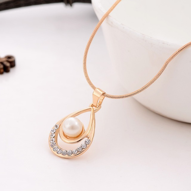 Valentine Day Gifts Gold Color Simulated Pearl Water Drop Crystal Pendant Necklace Earrings Wedding Jewelry Sets For Women 3