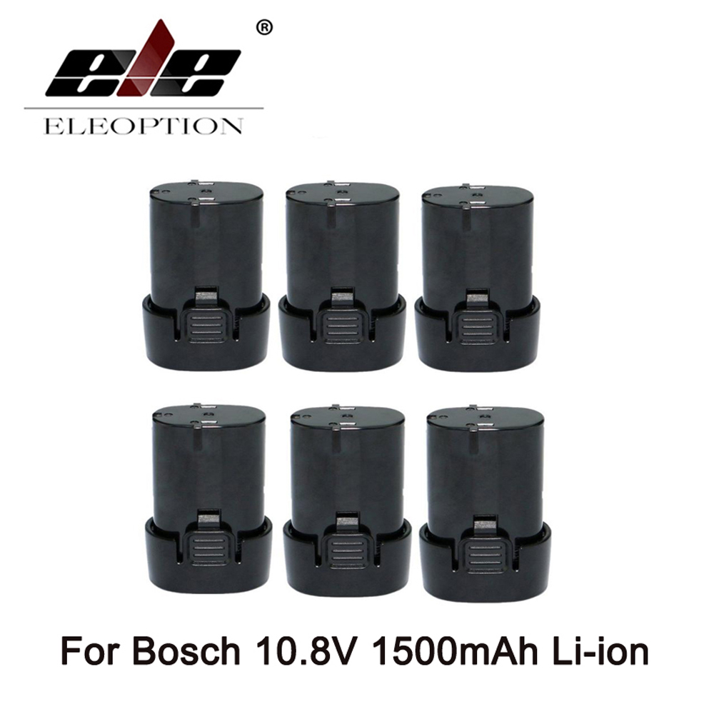 ELE ELEOPTION 6 pièces 10.8 V 1500 mAh Li-ion batterie pour Bosch BAT411 2 607 336 013, 2 607 336 014, D-70745 GOP, PS20-2, PS40-2