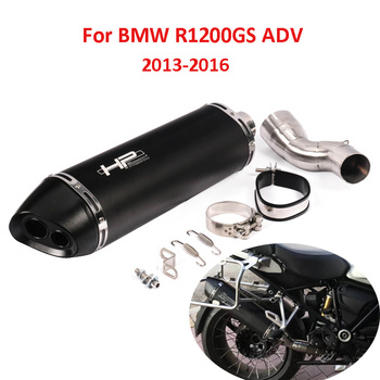 Motorcycle Exhaust System Muffler Tip Slip On Mid Link Pipe Whole Set Pipe For BMW R1200GS ADV 2013 2014 2015 2016 slip on motorcycle exhaust tip system muffler escape tail middle mid link tube pipe for ducati monster 696 695 795 796 1100