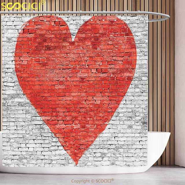 Cool Shower Curtain Rustic Symbol Of Love On Wall Romantic Feelings Heart  Shape Street Pattern Red