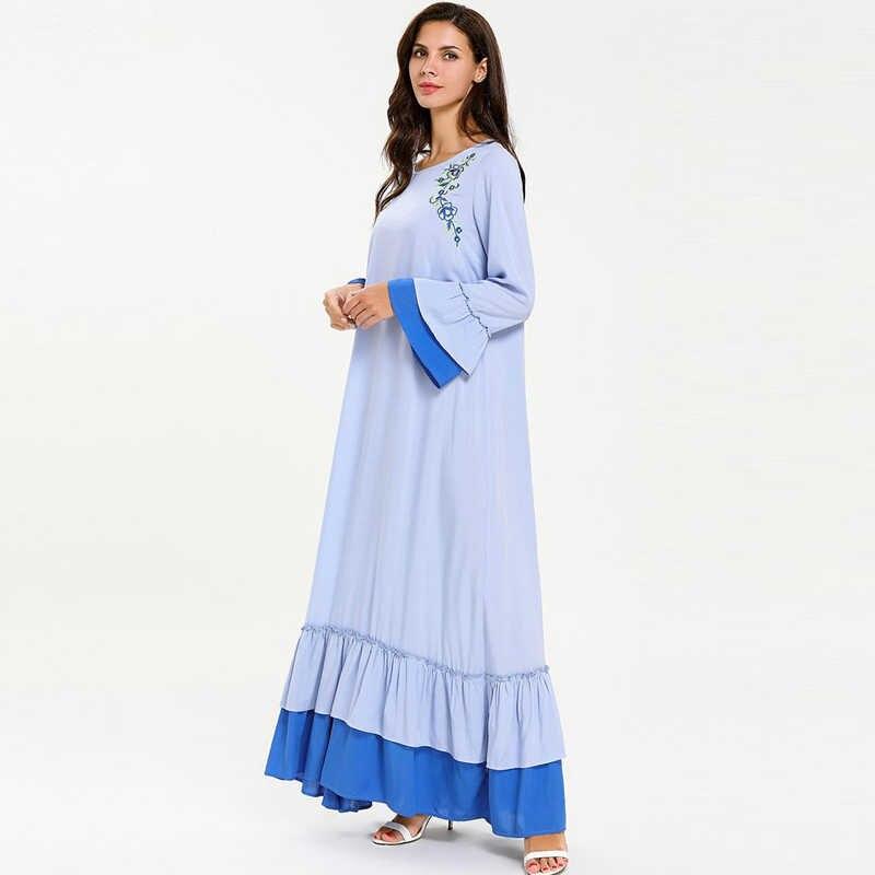 Вышивка Vestidos Абаи Женская одежда в мусульманском стиле Дубай мусульманский хиджаб платье Рамадан Elbise кафтан Для женщин Восточный халат из марокена Eid мусульманские платья