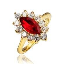 Женское Обручальное кольцо с овальной огранкой и красным цирконием