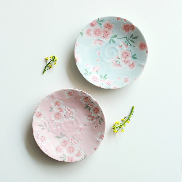 Quality Made in Japan Under Glazed Small Plate Ceramic Floral Sakura Printed Cake Dishes Home Tableware