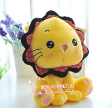 big size yellow lion toy plush sunflower lion toy creative yellow lion doll gift doll about 45cm