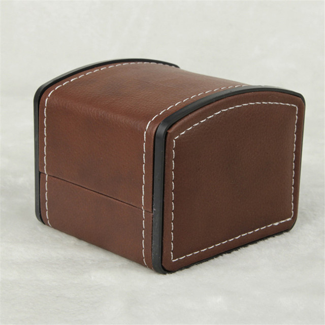2017 PU 1 Grid Watch Storage Box Faux Leather Brown Watch Display Storage  Box Free
