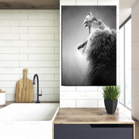 Lion and Lioness Canvas Poster Black White Woodlands Animal Wall Art Print Painting Nursery Wall Art Picture for Living Room
