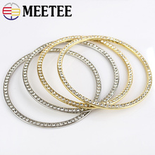 Meetee 2pcs 8cm Metal Alloy Diamond O Ring Handle Buckles DIY Clothing Bag Decoration Craft Hardware Accessories BD371